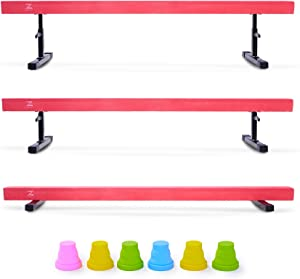Z ZELUS 8ft Balance Beam Gymnastics for Kids, 8ft Adjustable Gymnastics Equipment for Home, Solid Suede Balance Beam with Foams and Colorful Hurdles