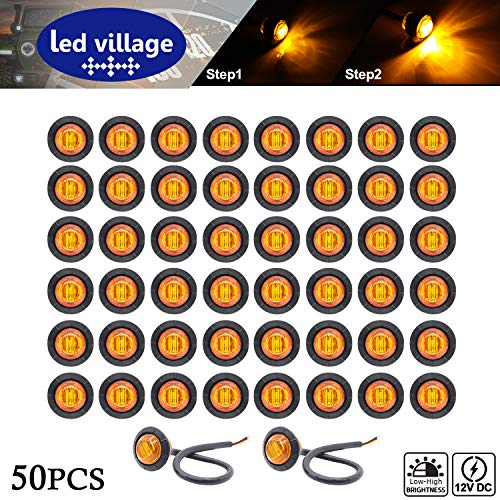 [Pack of 50] LedVillage 3/4 Inch Round Amber Lamp Mini Side Marker Indicator Light with Rubber Extra Bright for Jeep Truck Lorry Trailer Bus Pickup Van Camper ATV 12V DC - Mini Amber Shade
