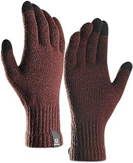 Kentop Gants d'hiver pour Femme en Tricot en Coton – Gants pour Les Doigts – Outdoor – Gants Chauds Gants tactiles, Coton, Marron, Medium