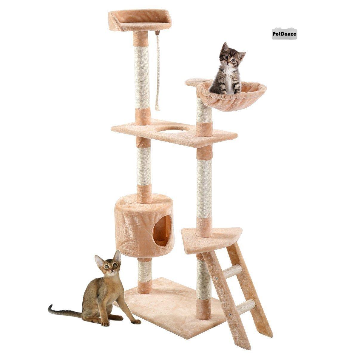 PetDanze Cat Tree Kitten Condo Post Scratcher | Kitty Tower Scratching Post Furniture | Cat Climbers Play House | 60'' Height, Beige