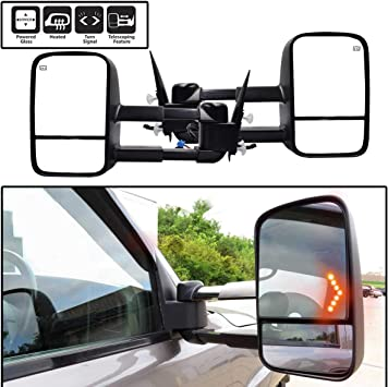 Left Power Heated Tow Mirror With Arrow Light Fit 03-07 Chevy Silverado//Sierra