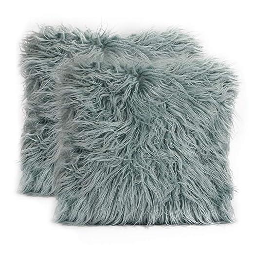 Paquete de 2 Fundas de Pelo para Cojines Azul 45x45cm, Funda de Cojín Mongol de Piel Sintética Suave para Sofá, Cama, Fundas Decorativas de Cojines de ...