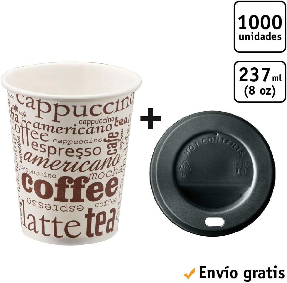 TELEVASO - 1000 uds - Vaso de cartón para café Vending + Tapa Traveler - Capacidad de 237 ml (8 oz) - Desechables y reciclables - Ideal para Bebidas Calientes como café, té, Leche, infusiones