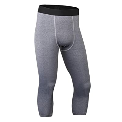 YYear Men's Compression Tight Cool Dry Workout Gym Running Capri Pants