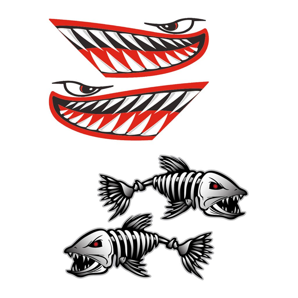 MagiDeal 4 Pieces Vinyl Kayak Fishing Boat Dinghy Canoe Jet Ski Shark Teeth Mouth Eyes with Fish Skeleton DIY Decals Stickers Graphics