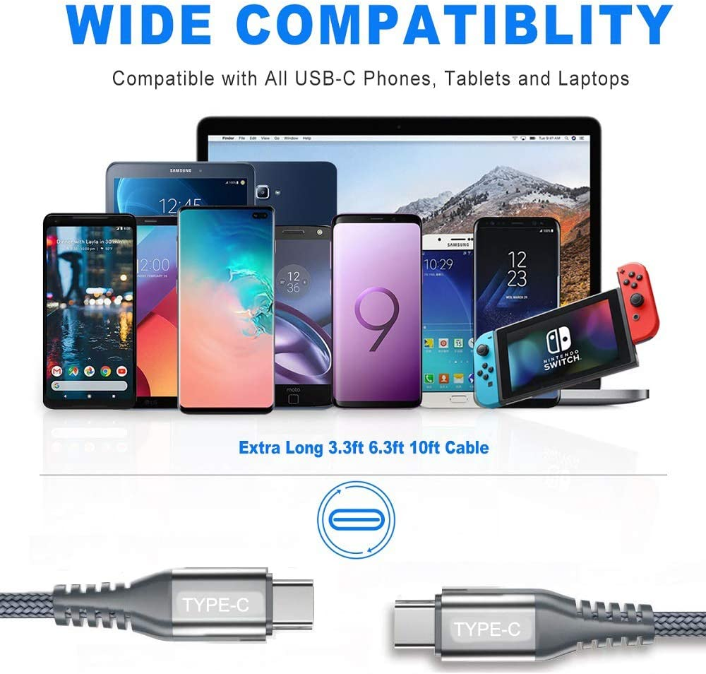 iPad pro 2018 3.0A,AviBrex USB Type C Fast Charger Cable Nylon Braided Charging Cord for Samsung Galaxy Note 10 MacBook Google Pixel 2//3//3a XL Grey USB C to USB C Cable 3Pack 10ft+6.6ft+3.3ft