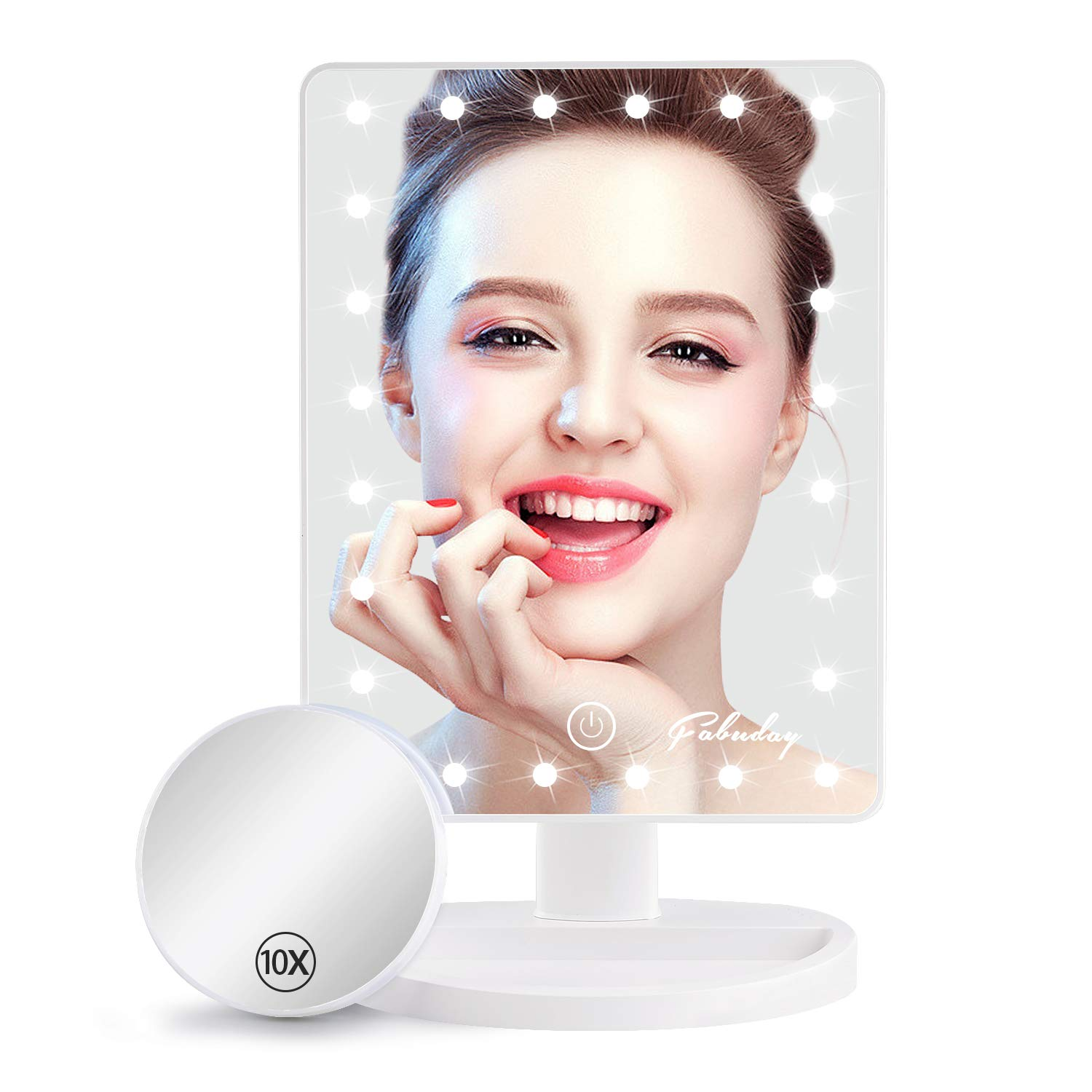 Makeup Mirror with Lights, Lighted Makeup Mirror with Detachable 10X Magnification, Touch Screen and Light Adjustable, 180 Rotation, Color Boxed, White