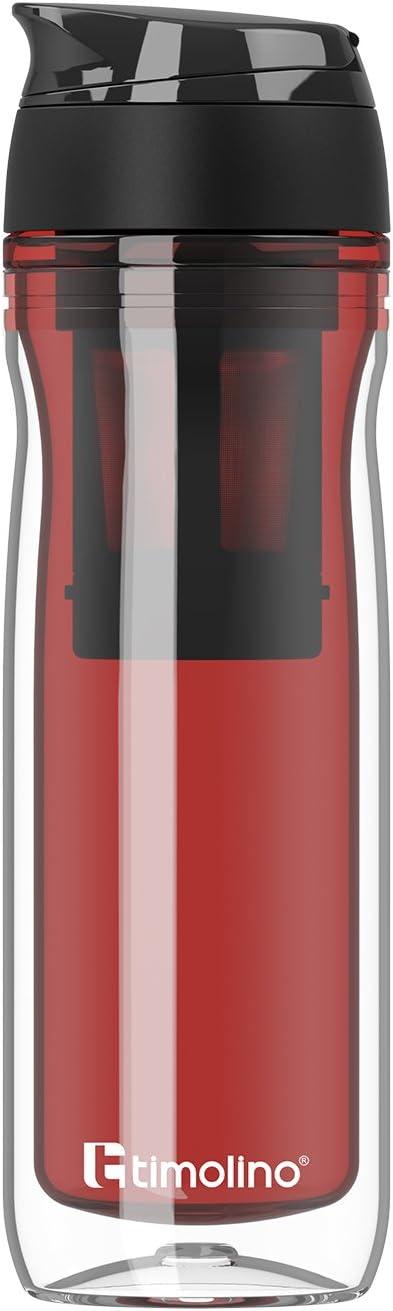 Premium – Botella – Botella de agua – Vaso térmico 400 ml para café y té – Coffee to Go – Aislado para bebidas calientes y frías – batidos – Colador de té – Colador de fruta – Rojo
