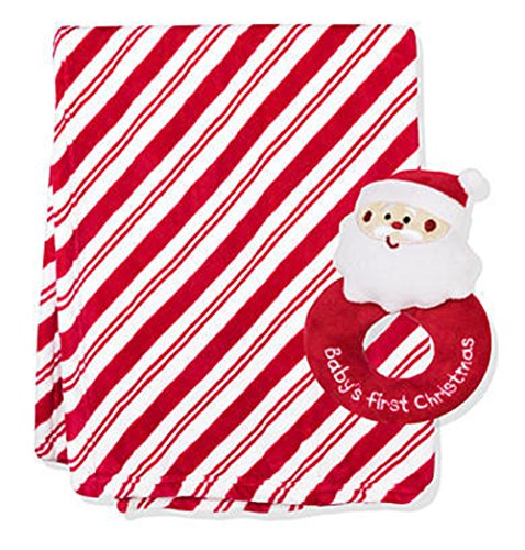 Nursery Rhyme Two-piece Candy Cane Stripe Blanket and Rat...
