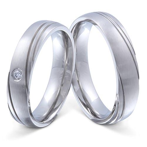 Eheringe Verlobungsringe Trauringe aus Edelstahl mit Zirkonia Ringe Gravur H133