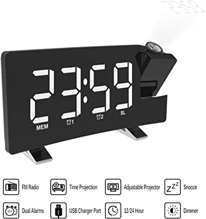 Nexmon Réveil de Projection, Horloge de Projection à écran
