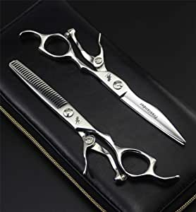 6 Inch Professional Hairdressing Scissor Hair Cutting Scissors Kit Hair Straight Thinning Scissors Barber Salon Tools Salon Shears for Men and Women