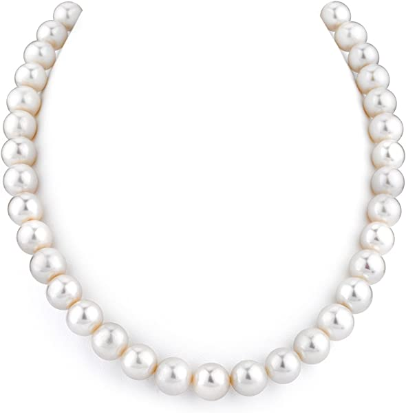 THE PEARL SOURCE AAA Quality Double Strand White Freshwater Cultured Pearl Necklace for Women in 18-19 Princess Length