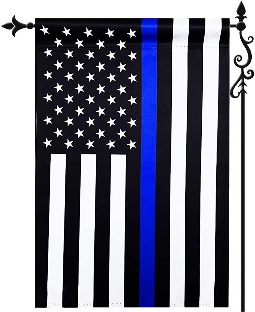 Thin Blue Line Police Yard Garden Flag 12.5x18 Inch- Double Side Police American Garden Flags Banner Outdoor- Blue Stripe US Garden Flag Polyester Blend Outdoor Lawn Decoration