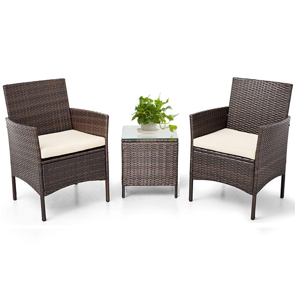 SUNCROWN Outdoor 3 Piece Bistro Set Brown Wicker Chairs with Glass Top Table All-Weather Wicker Patio Furniture with Thick Cushions