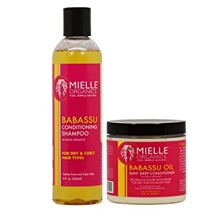 Mielle Organics Haircare Set ( Babassu Conditioning Shampoo 8 oz , Babassu Oil And Mint Deep Conditioner 8 oz )
