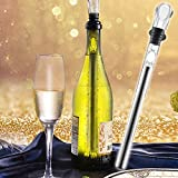 Wine Chiller: 3 Piece Set - 3-in-1 Stainless Steel Wine Bottle Cooler Stick with Aerator and Pourer