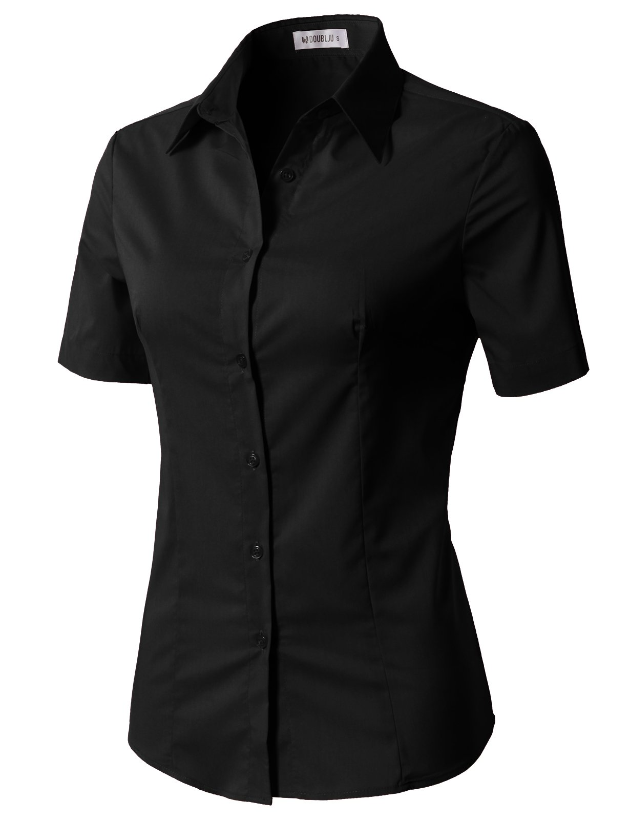 CLOVERY Women's Wrinkle-Free Short-Sleeve Slim Fit Button Down Shirt Black M