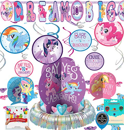 My Little Pony Friendship Adventures Party Supplies Birthday Room Decorating Bundle of Table Centerpiece Hanging Swirls Add Your Own Age Banner Birthday Card and Balloon Decoration Kit ()