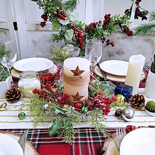 Christmas Candle Rings.2 Pcs Artificial Snowy Cedar And Berry Candle Rings Christmas Candle Holder Rings Faux Cedar Twigs Wreath Mini Window Mirror Wreaths 12 6 Wide With