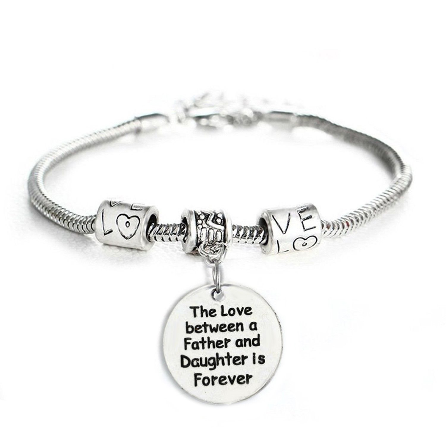 7d4378b83 Beautiful Engraved Pendant Charm Bracelet - Perfect Jewelry Gift for Girl,  Teen, Women, Dad, Birthday - Popular Love Between Father and Daughter  Style: ...