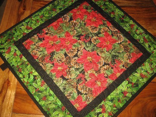 """Christmas Poinsettia Table Topper, Holly Berries and Pine Cones, 21 X 21"""", Reversible, Quilted Lodge Counter Table"""