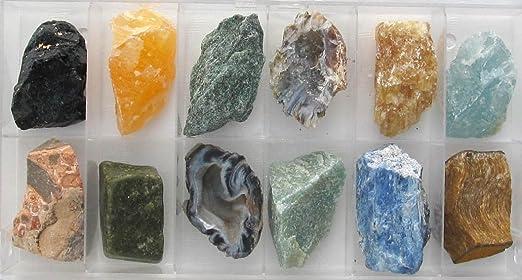 Minerales para pantallas táctiles, 12 grandes del mineral en plástico transparente caja de decoración con tapa, se puede colocar se adjuntan, regalo: Amazon.es: Hogar