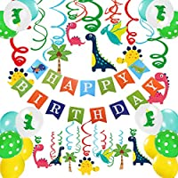 Dinosaur Birthday Party Supplies Decorations- 47 Pcs for Boys Birthday Decorations Banner Hanging Swirl Decorations for Kids Dinosaur Balloon Party Favors
