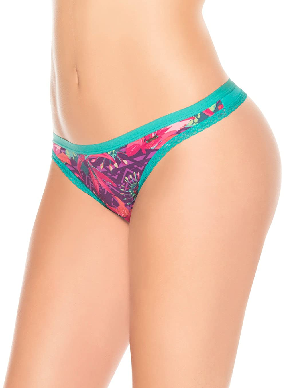 Laura Women's Thong Floral Fabric Lace Trim