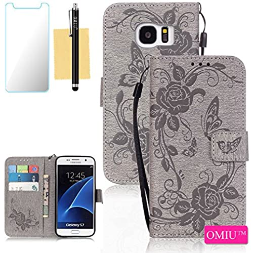 Galaxy S7 Case,S7 Case, OMIU(TM) Wallet PU Leather Embossed Butterfly Case with Credit ID Card Slots for Samsung Galaxy S7-Gray Sales