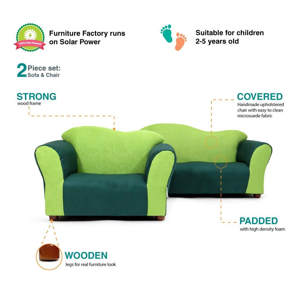 Keet Sofa and Chair Wave Kids Set Green