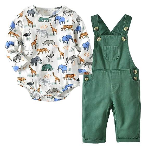 df0e2ebcd Mitlfuny Primavera Otoño Conjunto de Ropa Bebé Niña Tops Tirantes  Pantalones 2 Piezas Mameluco de Manga
