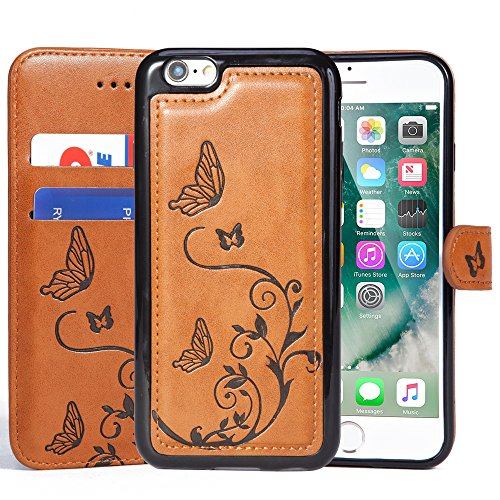 WaterFox Case for iPhone 8/iPhone 7, Wallet Leather Case with 2 in 1 Detachable Cover, Womens Vintage Embossed Pattern with 2 Card Slots & Wrist Strap Case - Brown