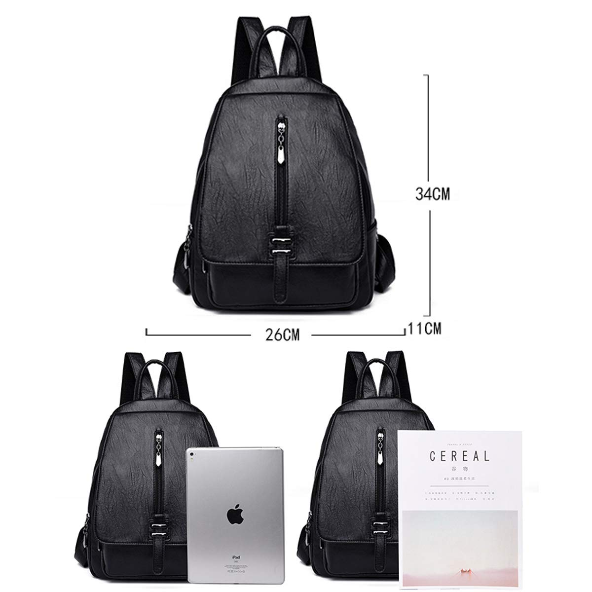 PU Leather Black//Brown//Purple//Red//Blue Haoyushangmao Girls Multifunctional Backpack for Daily Travel//Tourism//School//Work//Fashion//Leisure Stylish and Generous