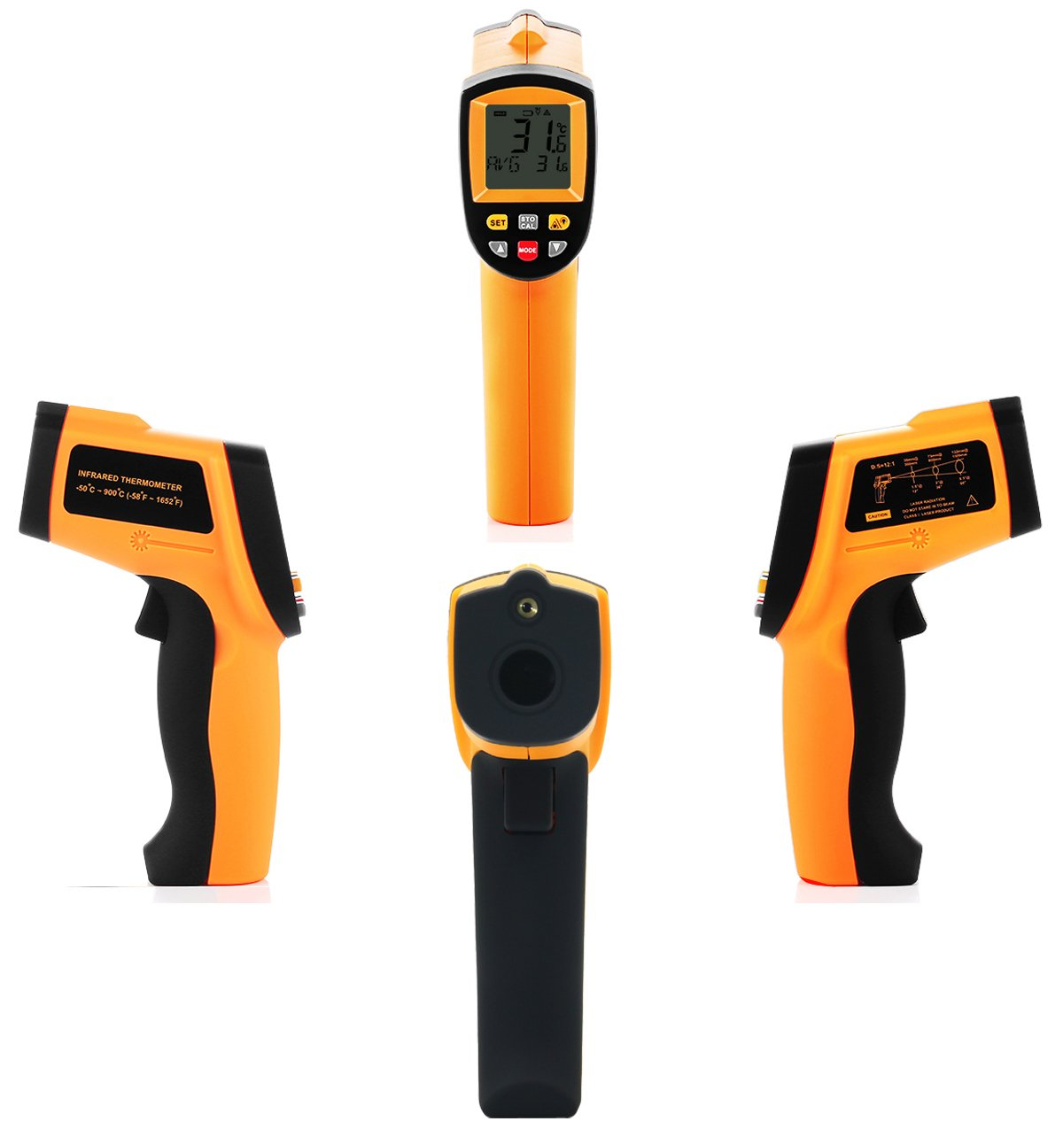 Tekit Non-Contact Laser Infrared Digital Thermometer, -50 ~ 900℃ Temperature Measuring Range, Handheld Laser Target Pointer / Backlight / Auto Power On/Off by Tekit (Image #3)