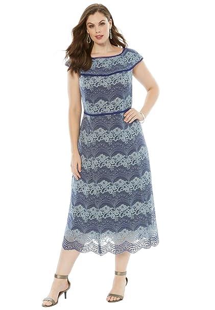 6370c57f59452 Roamans Women s Plus Size Off-The-Shoulder Lace Dress Pale Blue Lace ...