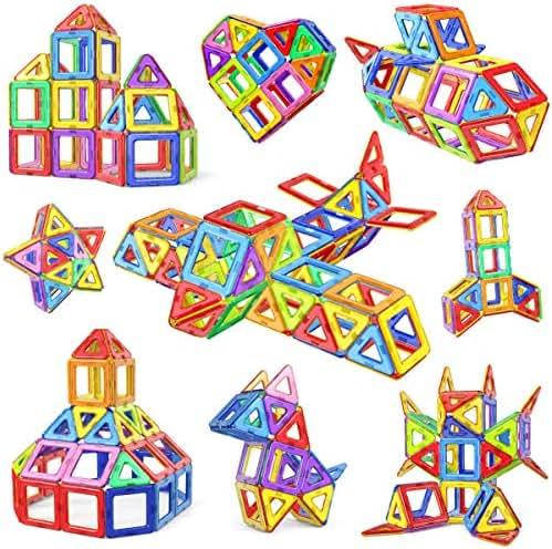 Jasonwell 68 Pcs Magnetic Tiles Building Blocks Set for Boys Girls Preschool Educational Construction Kit Magnet Stacking Toys for Kids Toddlers Children Age 3 4 5 6 7 8 Year Old …