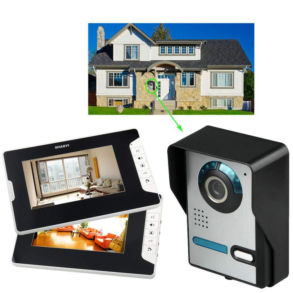 1 c/ámara para casa unifamiliar visi/ón nocturna de bloqueo el/éctrico 2 monitores interfono con 7 pulgadas Sistema de intercomunicador con timbre de videoportero c/ámara infrarroja TFT-LCD en color