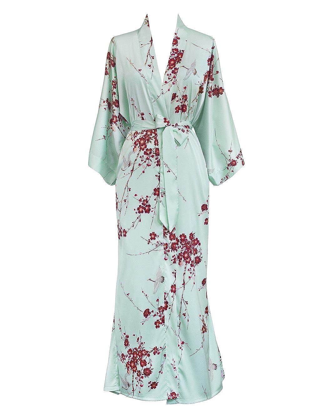 Cherry Blossom & Crane Aqua Old Shanghai Women's Kimono Robe Long  Watercolor Floral