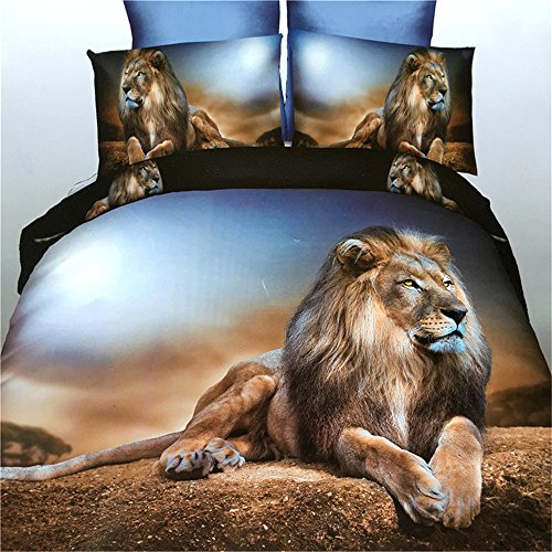 Jameswish Gorgeous 3D Lion Bedding Sets Polyester Fabric Thin Tiger Bedding Heavy-Duty Tough 1Duvet Cover 1Flat Sheet 2Pillowshams Washable Standard Size