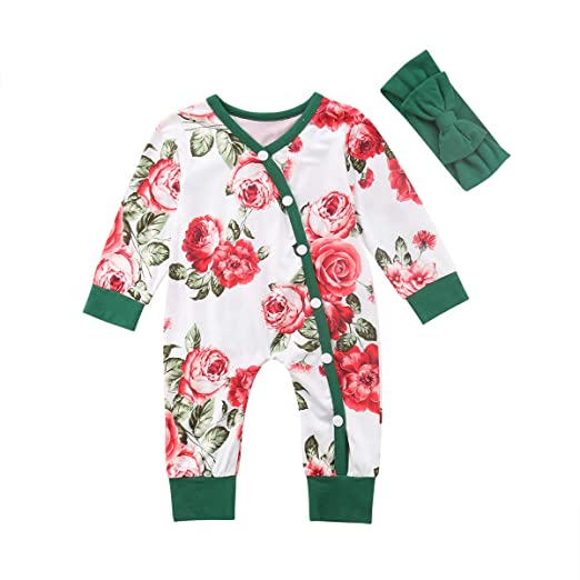 Infant Toddler Baby Girls Pajamas Sleepwear Cute Flowers Romper Jumpsuits Set Kids Girl PJS Sleeper Amazon.com: