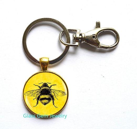 Llavero de abeja encantadora, llavero de abeja miel, joyería ...