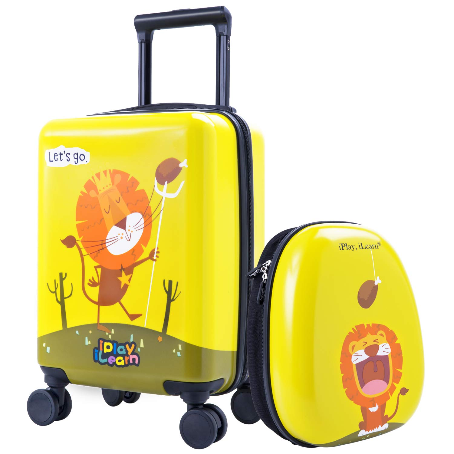 Kids Carry On Spinner Luggage, Hard Shell Travel Upright Rolling Suitcase Boys by iPlay, iLearn