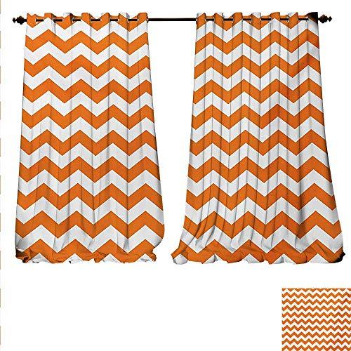 familytaste Patterned Drape for Glass Door Halloween Pumpkin Color Chevron Traditional Holidays Autumn Season Celebrate Window Curtain Fabric W96 x L84 Orange White.jpg ()