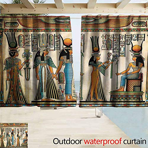 MaryMunger Custom Curtain Egyptian Papyrus Nefertari and Isis Blackout Draperies for Bedroom W63x45L Inches ()