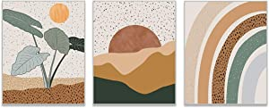 HerZii Prints - Mid Century Modern Wall Art Boho Decor - Set of 3 Boho Wall Decor Mid Century Modern Decor - Terracotta Modern Wall Decor - Sun Moon Rainboow Flower Theme Boho Decor - 8x10 UNFRAMED
