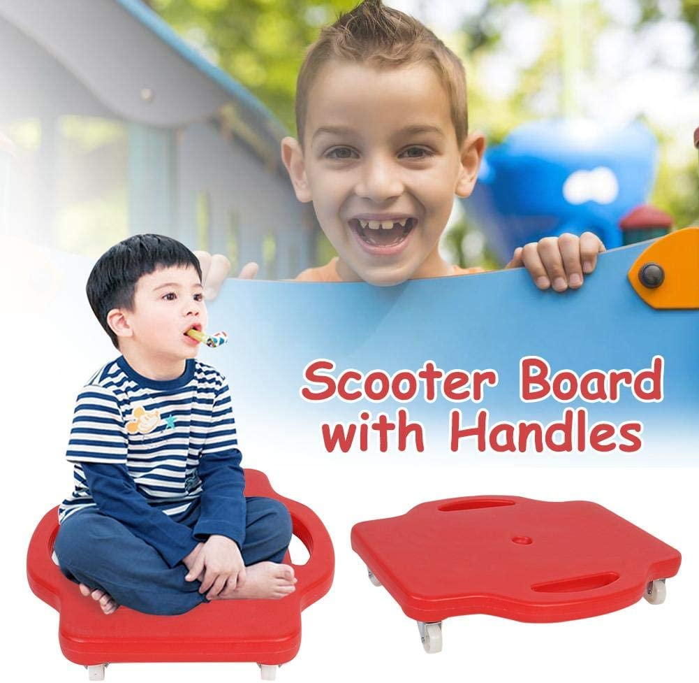 Plastic Scooter Board Handled Scooter Seat with Swivel Casters and with Safety Handles For Children This Is The Best Gift For Children