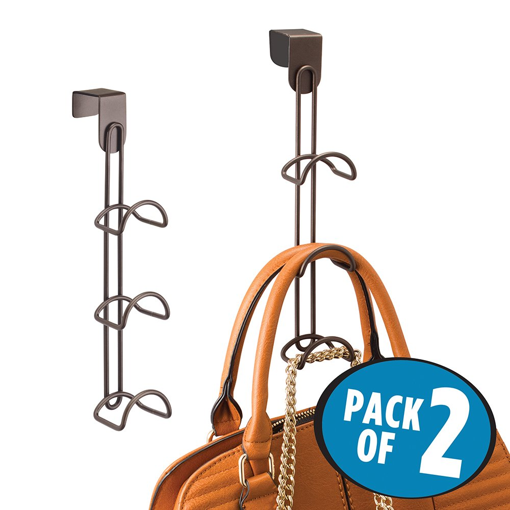 mDesign Over-the-Door Closet Organizer for Handbags, Backpacks, Totes - Pack of 2, Bronze