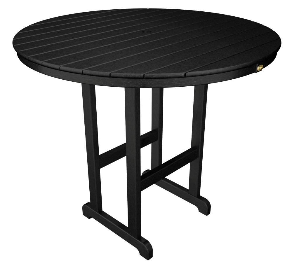 Trex Outdoor Furniture TXRBT248CB Monterey Bay Round Bar Table, 48-Inch, Charcoal Black