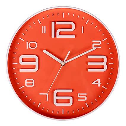 Nice AMESSE Wall Clock Large 3D Number, Battery Operated 10 Inch Non Ticking  Silent Modern Design
